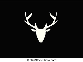 silhouette of a white deer head on a dark background