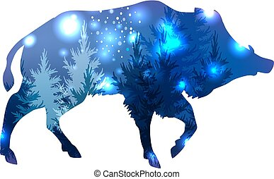 Silhouette of a wild boar with forest and space