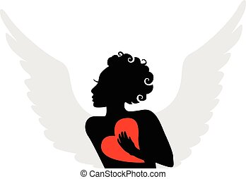 Silhouette of a winged cupid with a red heart in hand