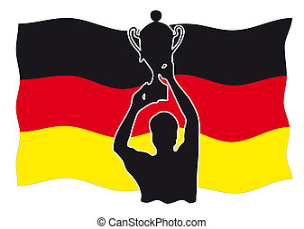 Silhouette of a winner with cup in front of german flag