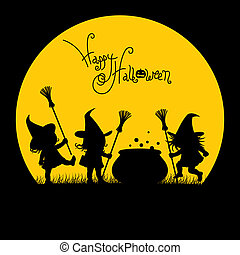 Silhouette of a Witches - witches in a field near the pot