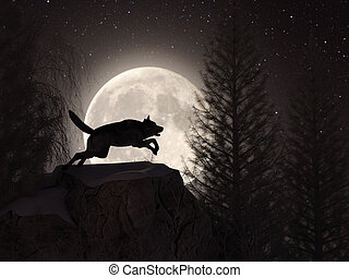 Silhouette of a wolf during the full moon in the forest at the winter