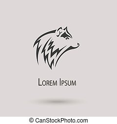 Silhouette of a wolf head. Vector stylized logo