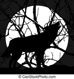 Silhouette of a wolf howling at the moon.