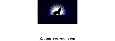 Silhouette of a wolf in the moonlight