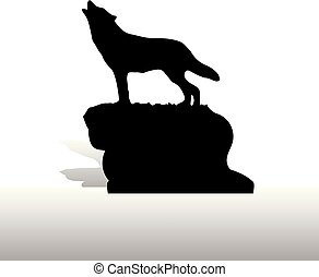 Silhouette of a wolf on a mountain, howls, on a white background