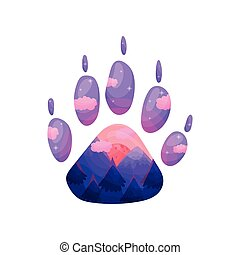 Silhouette of a wolf track with a landscape inside. Vector illustration on white background.