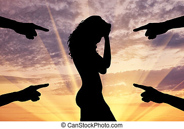 Silhouette of a woman and condemning the hands - Concept of...