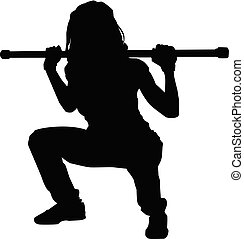 Silhouette of a woman doing squats, illustration, vector on white background.