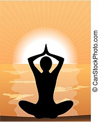 silhouette of a woman doing yoga