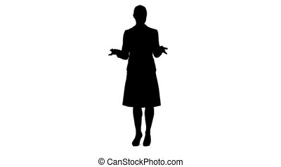 A silhouette of a woman giving a virtual presentation against a white background