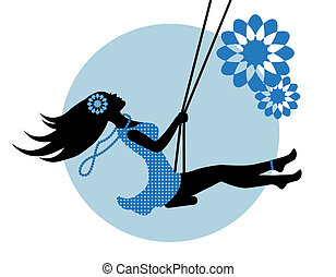silhouette of a woman on a swing