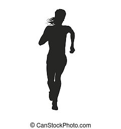 Silhouette of a woman running long distance