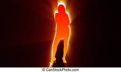 Silhouette of a woman singing against black background
