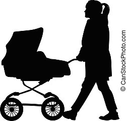 Silhouette of a woman walking with a pram