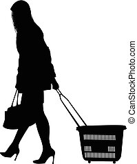 Silhouette of a woman walking with shopping cart