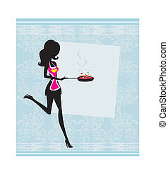 Silhouette of a Woman Wearing an Apron and Holding a Skillet