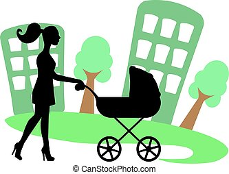 silhouette of a woman with a baby c