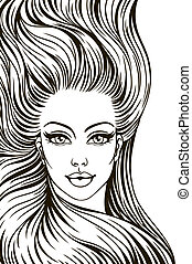 silhouette of a woman with long hair