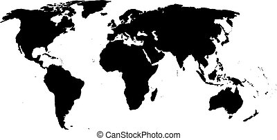 Silhouette of a world map. Black silhouette of a world map on a ...