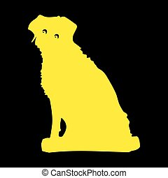 Silhouette of a yellow dog sitting, Cartoon on a black background