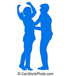 Silhouette of a young couple performing a dance