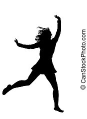 Silhouette of a young girl jumping with hands up