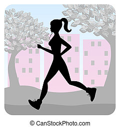 Silhouette of a young girl running