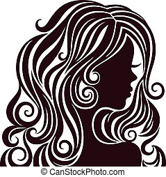Silhouette of a young lady with luxurious hair - Black and...