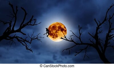 Silhouette of a young witch flying on a broomstick against the background of the orange moon. Halloween. Over old trees