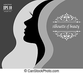 silhouette of a young woman with beautiful hair