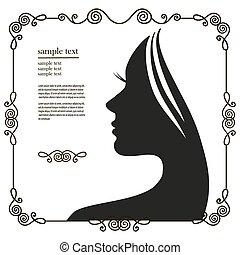 silhouette of a young woman with long hair - Vector...