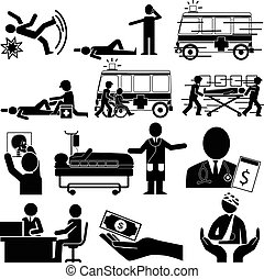 silhouette of accident and insurance service
