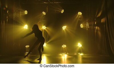 Silhouette of active athletic woman in black body dancing ...