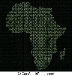 Silhouette of Africa from binary digits - Illustration of...
