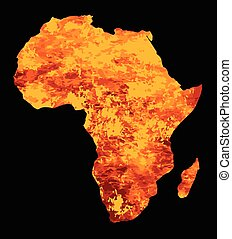 Silhouette Of Africa On Fire