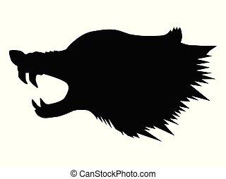 silhouette of aggressive wolf