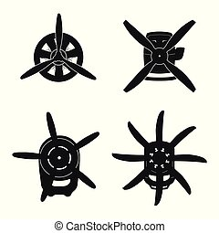 Silhouette of aircraft engine . Black drawing of motor with propeller on white background