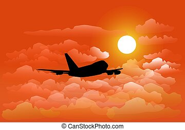 silhouette of airplane is flying in the sky above the cloud. With orange sun as the background
