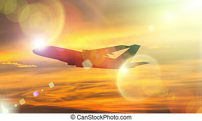 Silhouette of Airplane take off on the Colorful dramatic sky with cloud at sunset background.