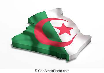 Silhouette of Algeria map with flag - 3d rendering of...