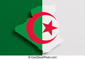 Silhouette of Algeria map with flag