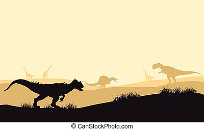Silhouette of allosaurus at morning with fog in the park