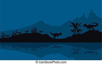 Silhouette of Allosaurus in riverbank