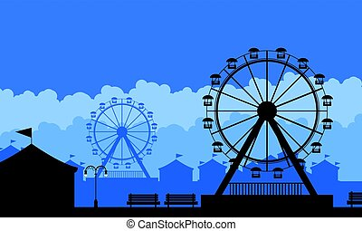 Silhouette of amusement park scenery background