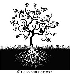 Silhouette of an abstract cannabis tree