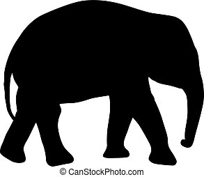Silhouette of an African baby elephant on a white background