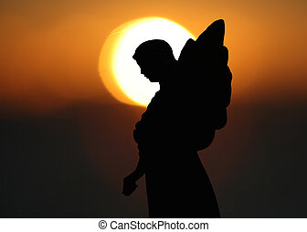 Silhouette of an Angel - Silhouette of a Statue of an Angel