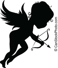 Silhouette of an angel with bow