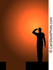 Silhouette of an army soldier on a platform saluting a usa flag